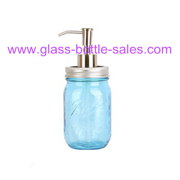 16oz Colored Glass Mason Jar With Pump