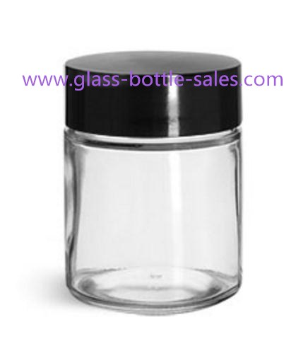 180ml Clear Straight Sided Glass Food Jar With Black Lid